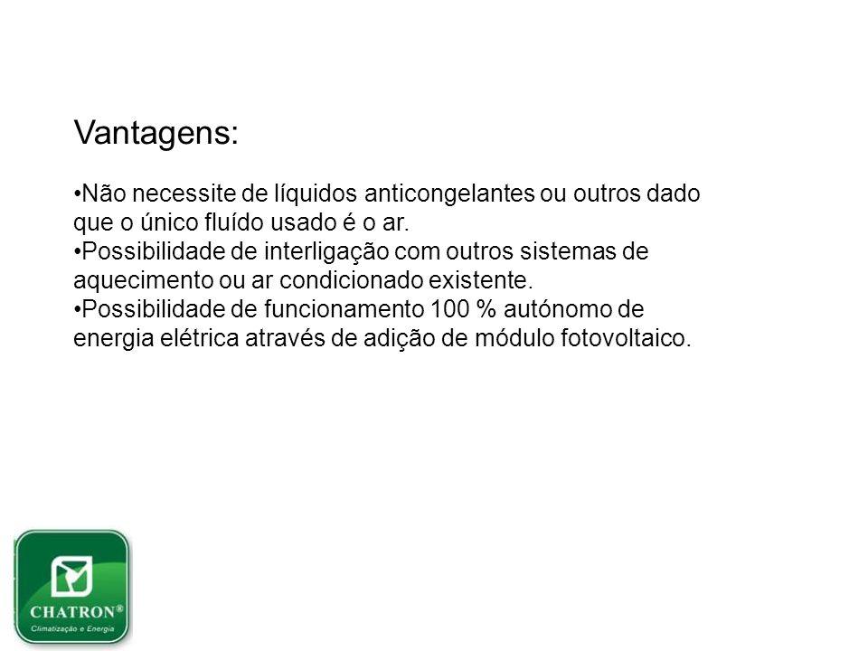 Vantagens: Não necessite de líquidos anticongelantes ou outros dado que o único fluído usado é o ar. Possibilidade de interligação com outros sistemas