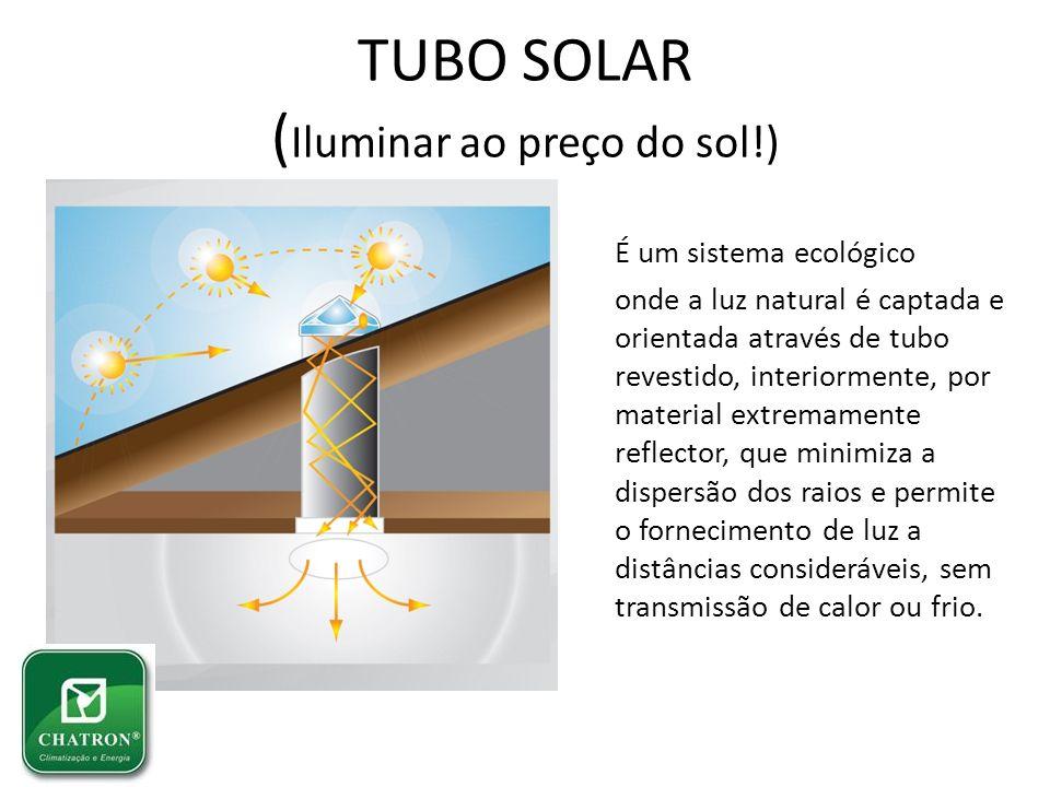 TUBO SOLAR ( Iluminar ao preço do sol!) É um sistema ecológico onde a luz natural é captada e orientada através de tubo revestido, interiormente, por