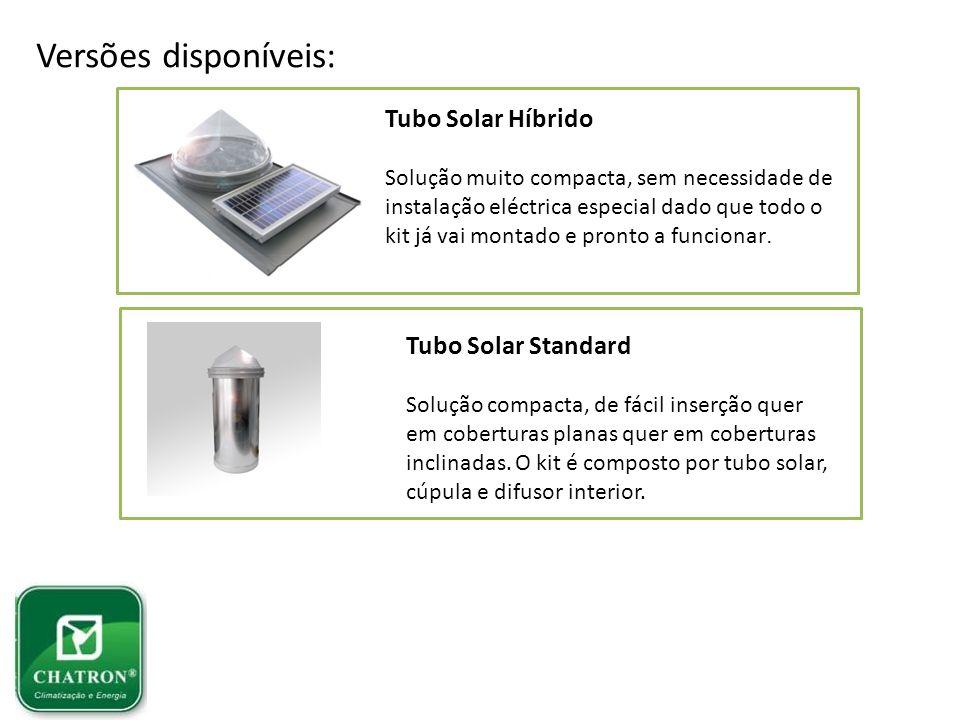 Versões disponíveis: Tubo Solar Híbrido Solução muito compacta, sem necessidade de instalação eléctrica especial dado que todo o kit já vai montado e