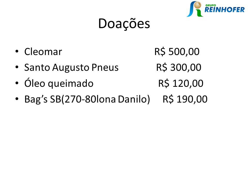 Doações Cleomar R$ 500,00 Santo Augusto Pneus R$ 300,00 Óleo queimado R$ 120,00 Bags SB(270-80lona Danilo) R$ 190,00