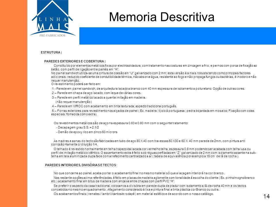 Memoria Descritiva ESTRUTURA : PAREDES EXTERIORES E COBERTURA : Constituído por elementos metálicos fixos por electrosoldadura, com tratamento nas cos