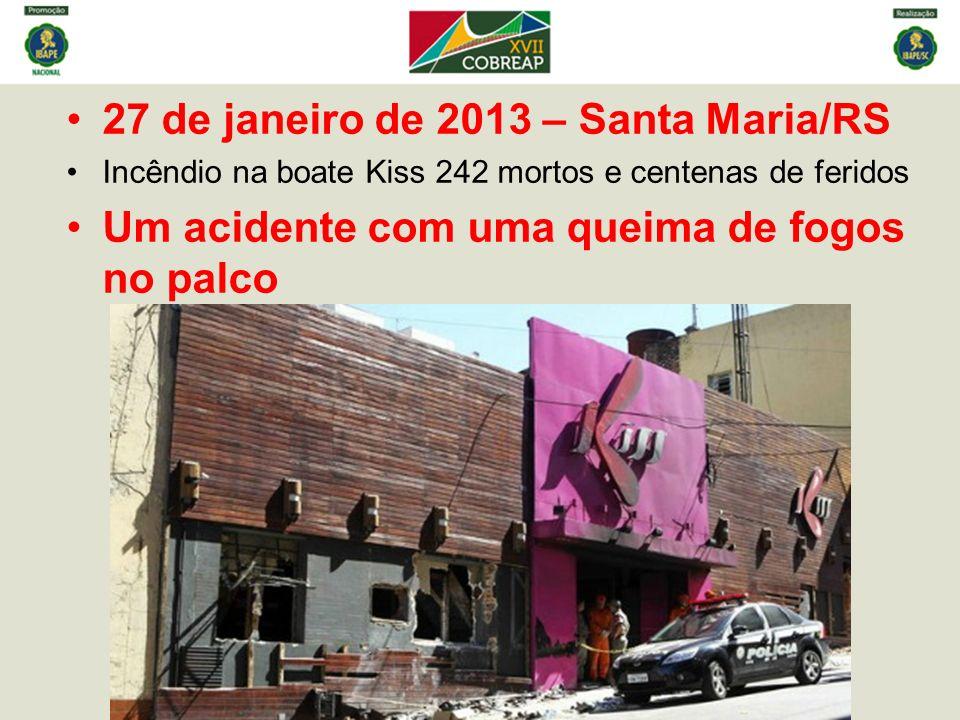 27 de janeiro de 2013 – Santa Maria/RS Incêndio na boate Kiss 242 mortos e centenas de feridos Um acidente com uma queima de fogos no palco