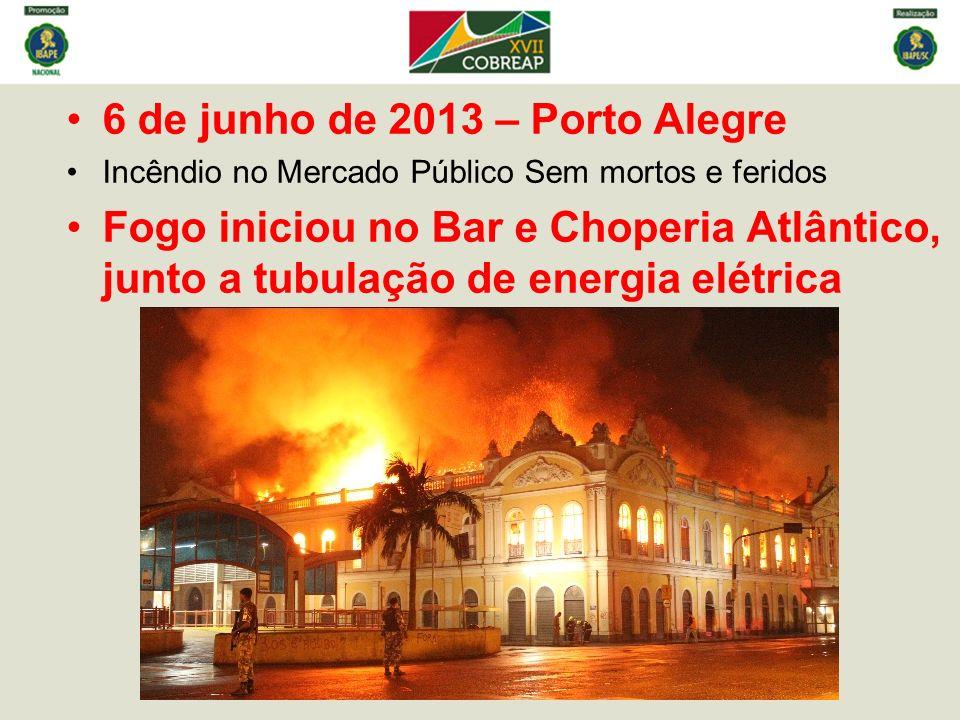 6 de junho de 2013 – Porto Alegre Incêndio no Mercado Público Sem mortos e feridos Fogo iniciou no Bar e Choperia Atlântico, junto a tubulação de energia elétrica
