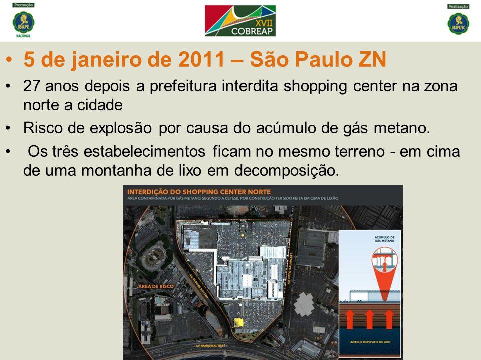 5 de janeiro de 2011 – São Paulo ZN 27 anos depois a prefeitura interdita shopping center na zona norte a cidade Risco de explosão por causa do acúmulo de gás metano.