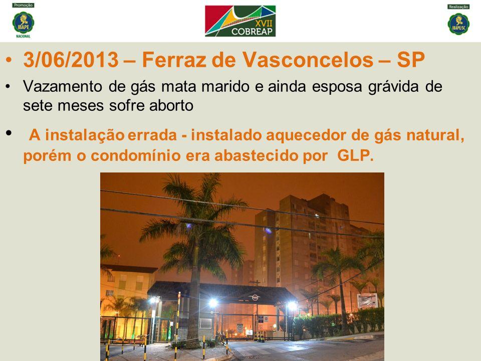 3/06/2013 – Ferraz de Vasconcelos – SP Vazamento de gás mata marido e ainda esposa grávida de sete meses sofre aborto A instalação errada - instalado aquecedor de gás natural, porém o condomínio era abastecido por GLP.