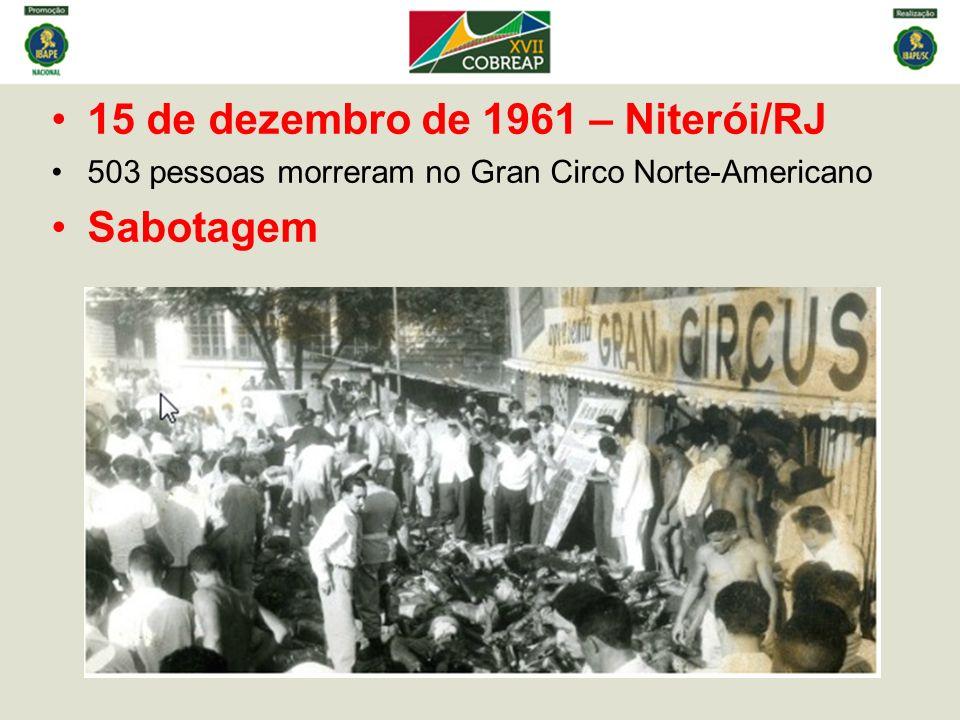 15 de dezembro de 1961 – Niterói/RJ 503 pessoas morreram no Gran Circo Norte-Americano Sabotagem