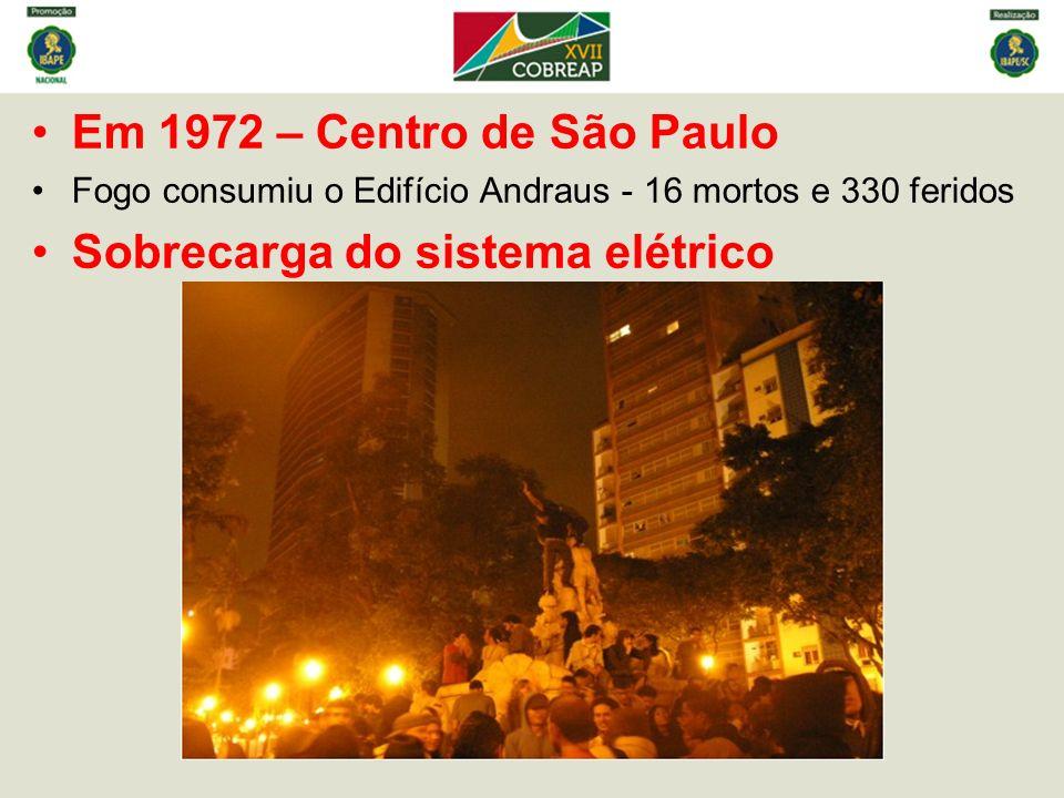 Em 1972 – Centro de São Paulo Fogo consumiu o Edifício Andraus - 16 mortos e 330 feridos Sobrecarga do sistema elétrico