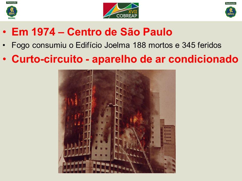 Em 1974 – Centro de São Paulo Fogo consumiu o Edifício Joelma 188 mortos e 345 feridos Curto-circuito - aparelho de ar condicionado
