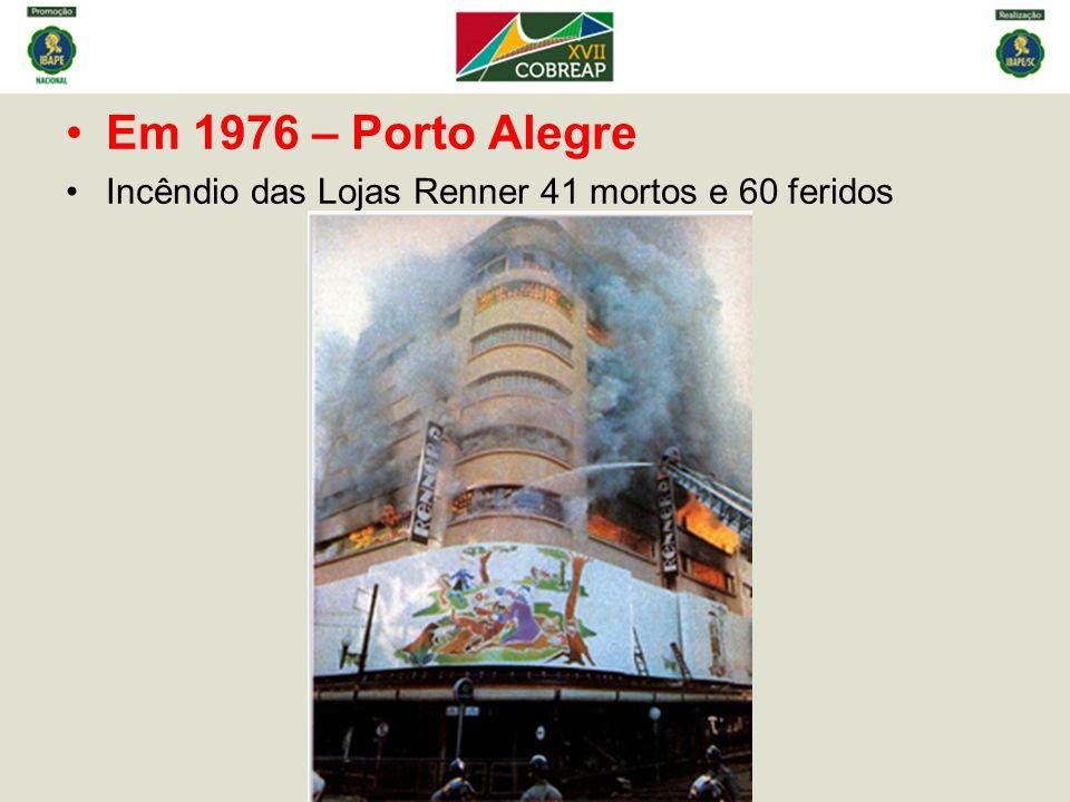 Em 1976 – Porto Alegre Incêndio das Lojas Renner 41 mortos e 60 feridos