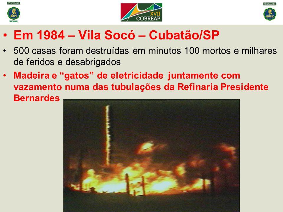 Em 1984 – Vila Socó – Cubatão/SP 500 casas foram destruídas em minutos 100 mortos e milhares de feridos e desabrigados Madeira e gatos de eletricidade juntamente com vazamento numa das tubulações da Refinaria Presidente Bernardes