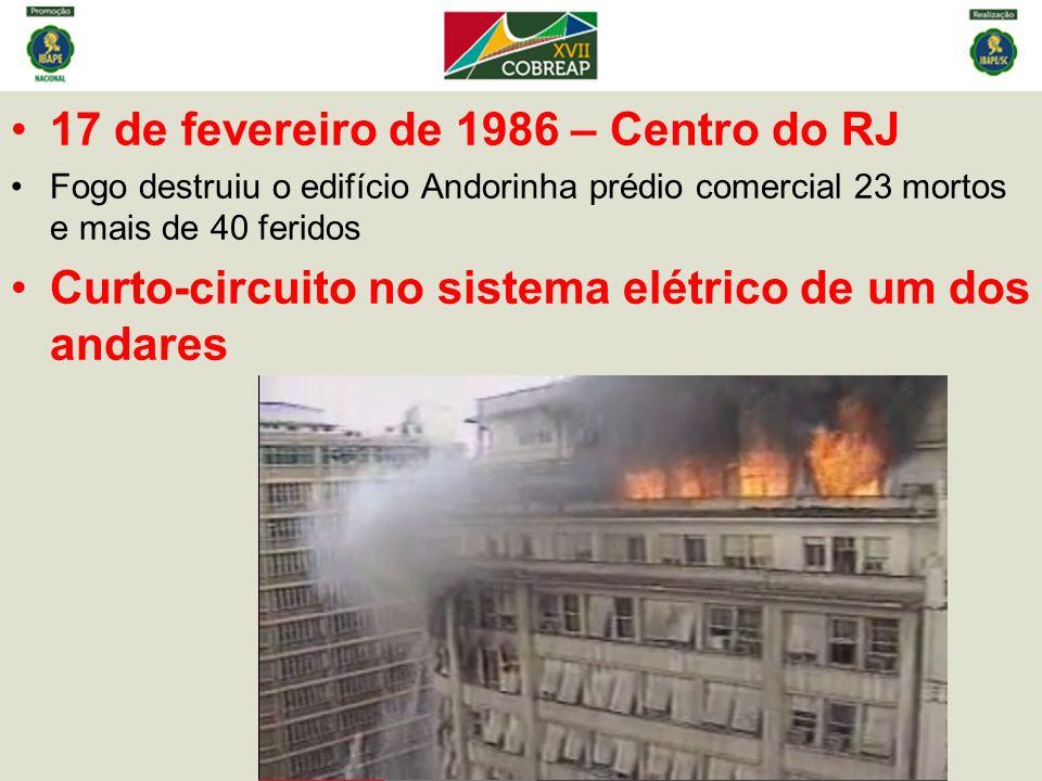 17 de fevereiro de 1986 – Centro do RJ Fogo destruiu o edifício Andorinha prédio comercial 23 mortos e mais de 40 feridos Curto-circuito no sistema elétrico de um dos andares