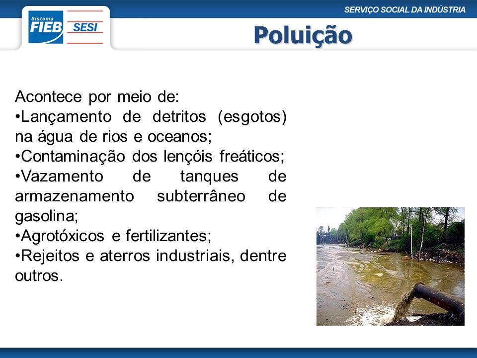 Poluição Acontece por meio de: Lançamento de detritos (esgotos) na água de rios e oceanos; Contaminação dos lençóis freáticos; Vazamento de tanques de