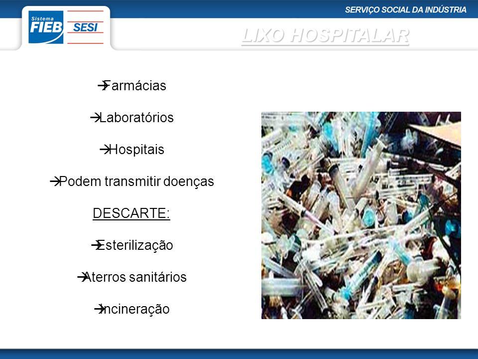 Farmácias Laboratórios Hospitais Podem transmitir doenças DESCARTE: Esterilização Aterros sanitários Incineração LIXO HOSPITALAR