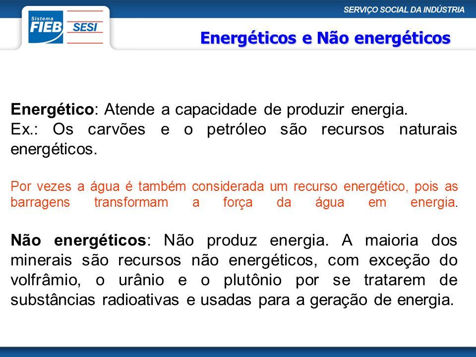 Energético: Atende a capacidade de produzir energia. Ex.: Os carvões e o petróleo são recursos naturais energéticos. Por vezes a água é também conside