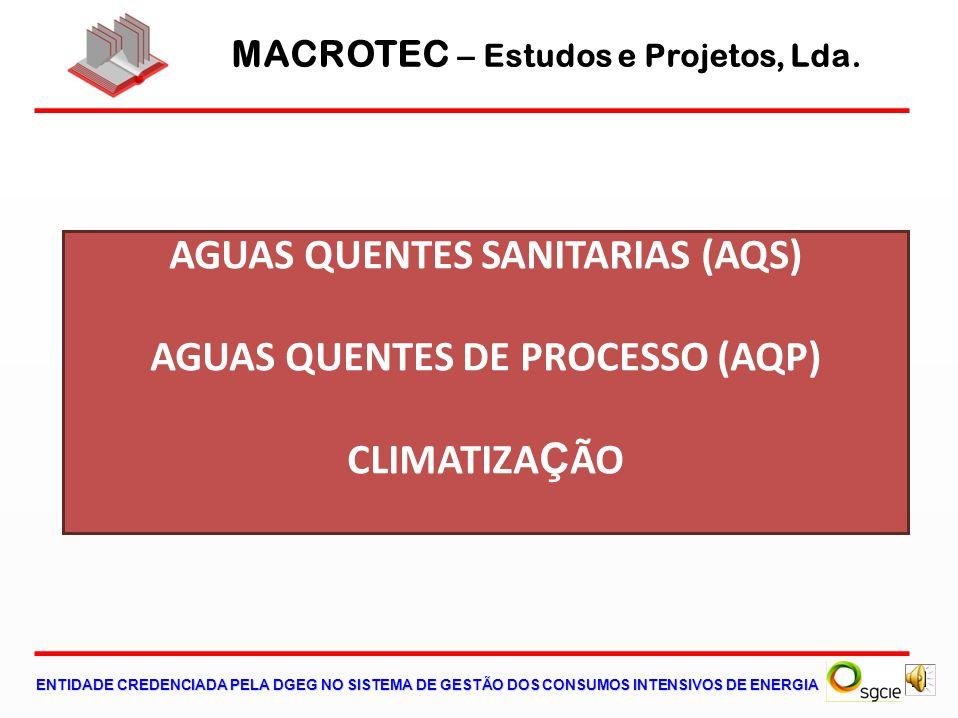 MACROTEC – Estudos e Projetos, Lda. ENTIDADE CREDENCIADA PELA DGEG NO SISTEMA DE GESTÃO DOS CONSUMOS INTENSIVOS DE ENERGIA AGUAS QUENTES SANITARIAS (A