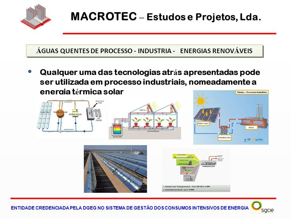 Qualquer uma das tecnologias atr á s apresentadas pode ser utilizada em processo industriais, nomeadamente a energia t é rmica solar Á GUAS QUENTES DE