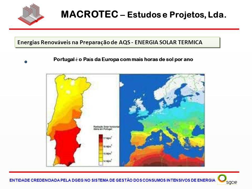 MACROTEC – Estudos e Projetos, Lda. ENTIDADE CREDENCIADA PELA DGEG NO SISTEMA DE GESTÃO DOS CONSUMOS INTENSIVOS DE ENERGIA Energias Renov á veis na Pr