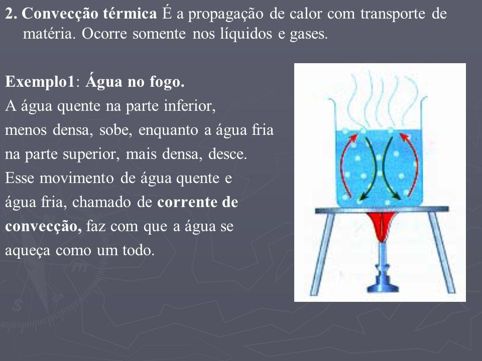 2. Convecção térmica É a propagação de calor com transporte de matéria. Ocorre somente nos líquidos e gases. Exemplo1: Água no fogo. A água quente na
