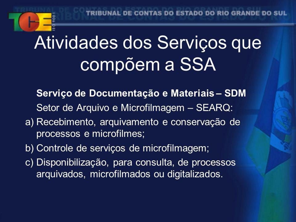 Atividades dos Serviços que compõem a SSA Serviço de Documentação e Materiais – SDM Setor de Arquivo e Microfilmagem – SEARQ: a)Recebimento, arquivamento e conservação de processos e microfilmes; b)Controle de serviços de microfilmagem; c)Disponibilização, para consulta, de processos arquivados, microfilmados ou digitalizados.