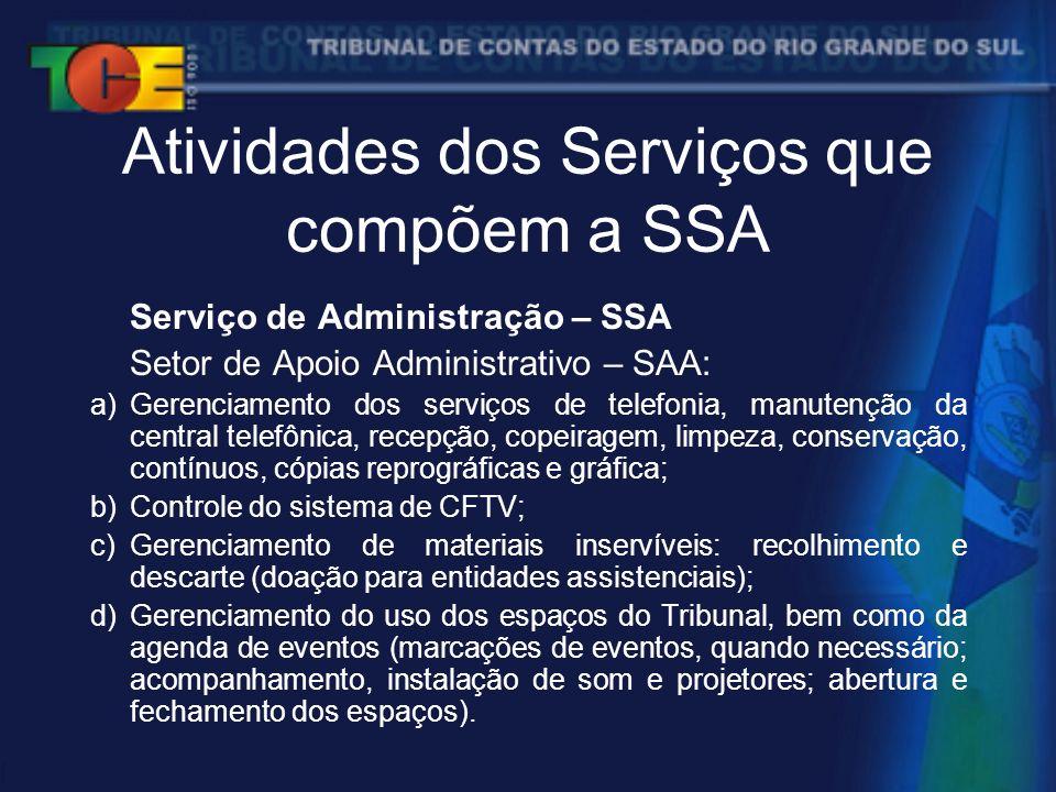Atividades dos Serviços que compõem a SSA Serviço de Administração – SSA Setor de Apoio Administrativo – SAA: a)Gerenciamento dos serviços de telefonia, manutenção da central telefônica, recepção, copeiragem, limpeza, conservação, contínuos, cópias reprográficas e gráfica; b)Controle do sistema de CFTV; c)Gerenciamento de materiais inservíveis: recolhimento e descarte (doação para entidades assistenciais); d)Gerenciamento do uso dos espaços do Tribunal, bem como da agenda de eventos (marcações de eventos, quando necessário; acompanhamento, instalação de som e projetores; abertura e fechamento dos espaços).