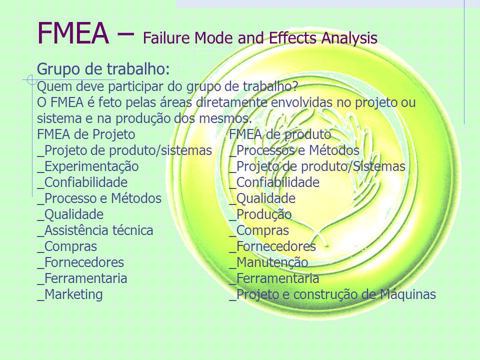 FMEA – Failure Mode and Effects Analysis Grupo de trabalho: Quem deve participar do grupo de trabalho.