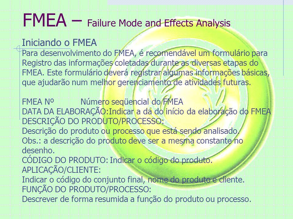 FMEA – Failure Mode and Effects Analysis Iniciando o FMEA Para desenvolvimento do FMEA, é recomendável um formulário para Registro das informações coletadas durante as diversas etapas do FMEA.
