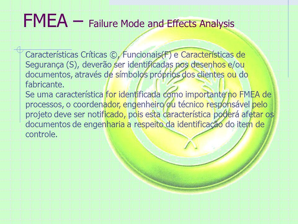 FMEA – Failure Mode and Effects Analysis Características Críticas ©, Funcionais(F) e Características de Segurança (S), deverão ser identificadas nos desenhos e/ou documentos, através de símbolos próprios dos clientes ou do fabricante.