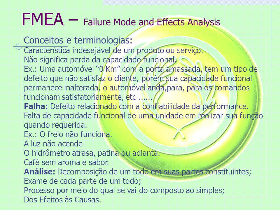 FMEA – Failure Mode and Effects Analysis Conceitos e terminologias: Característica indesejável de um produto ou serviço.