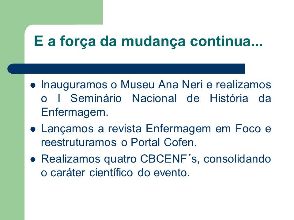E a força da mudança continua... Inauguramos o Museu Ana Neri e realizamos o I Seminário Nacional de História da Enfermagem. Lançamos a revista Enferm