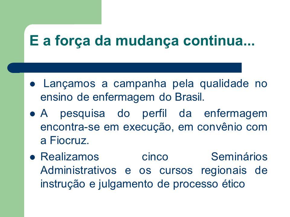 E a força da mudança continua... Lançamos a campanha pela qualidade no ensino de enfermagem do Brasil. A pesquisa do perfil da enfermagem encontra-se