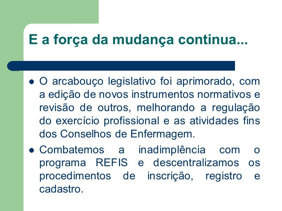 E a força da mudança continua... O arcabouço legislativo foi aprimorado, com a edição de novos instrumentos normativos e revisão de outros, melhorando