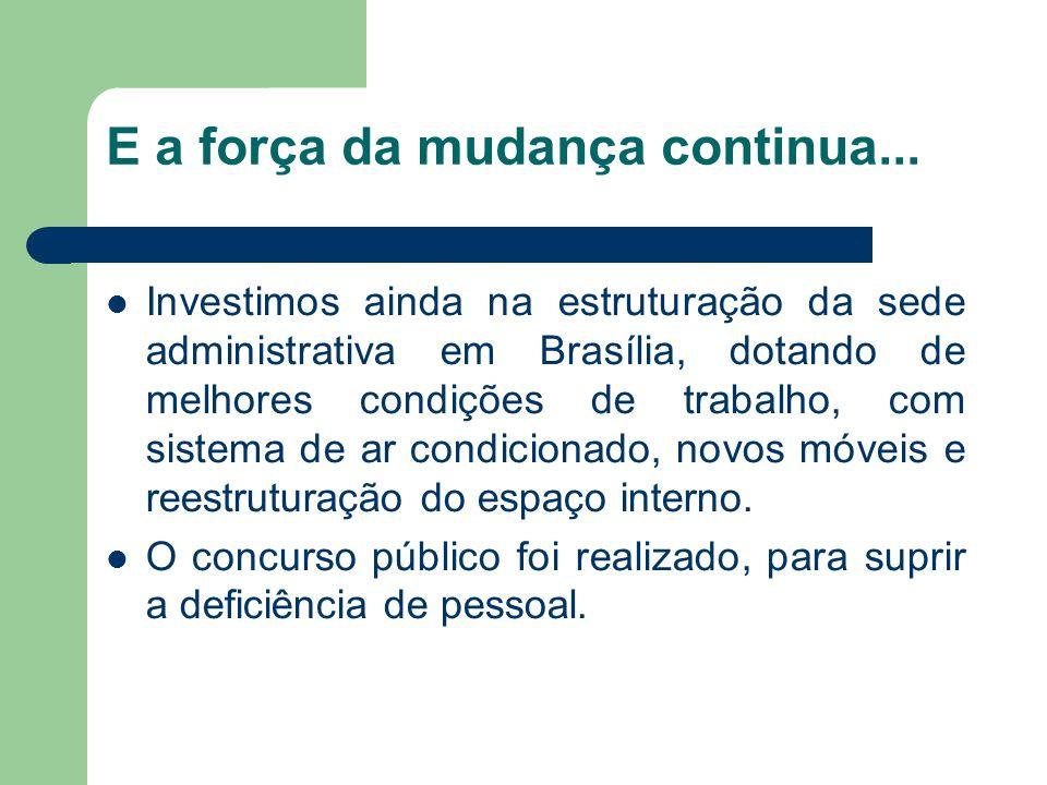 E a força da mudança continua... Investimos ainda na estruturação da sede administrativa em Brasília, dotando de melhores condições de trabalho, com s