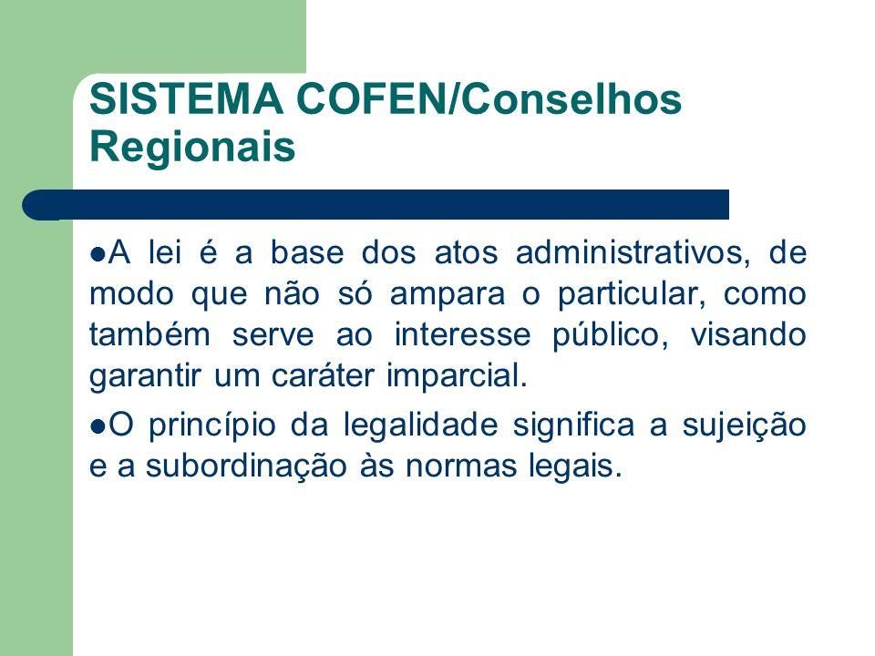 SISTEMA COFEN/Conselhos Regionais A lei é a base dos atos administrativos, de modo que não só ampara o particular, como também serve ao interesse públ