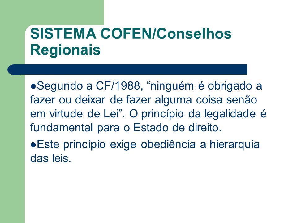 SISTEMA COFEN/Conselhos Regionais Segundo a CF/1988, ninguém é obrigado a fazer ou deixar de fazer alguma coisa senão em virtude de Lei. O princípio d