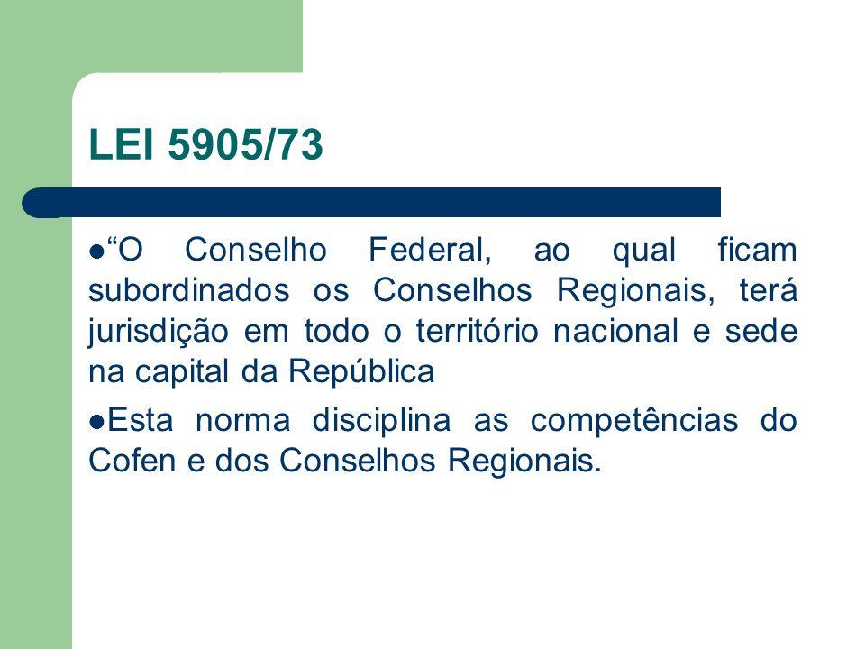 LEI 5905/73 O Conselho Federal, ao qual ficam subordinados os Conselhos Regionais, terá jurisdição em todo o território nacional e sede na capital da