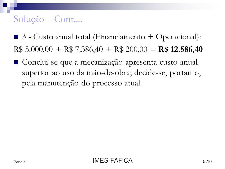 5.10 IMES-FAFICA Bertolo Solução – Cont....