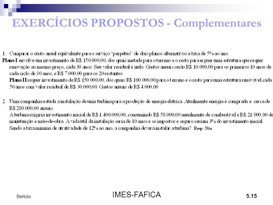 5.15 IMES-FAFICA Bertolo EXERCÍCIOS PROPOSTOS - Complementares