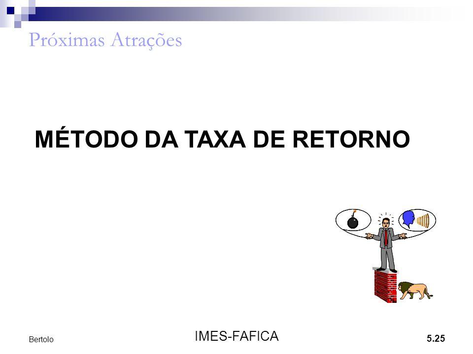 5.25 IMES-FAFICA Bertolo Próximas Atrações MÉTODO DA TAXA DE RETORNO