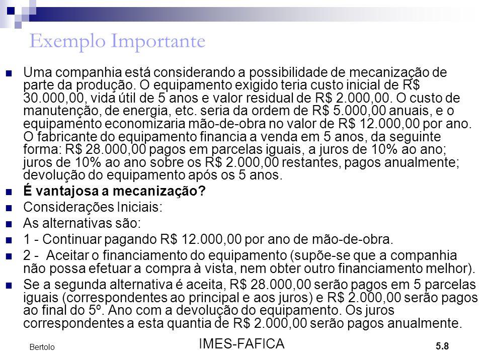 5.8 IMES-FAFICA Bertolo Exemplo Importante Uma companhia está considerando a possibilidade de mecanização de parte da produção. O equipamento exigido