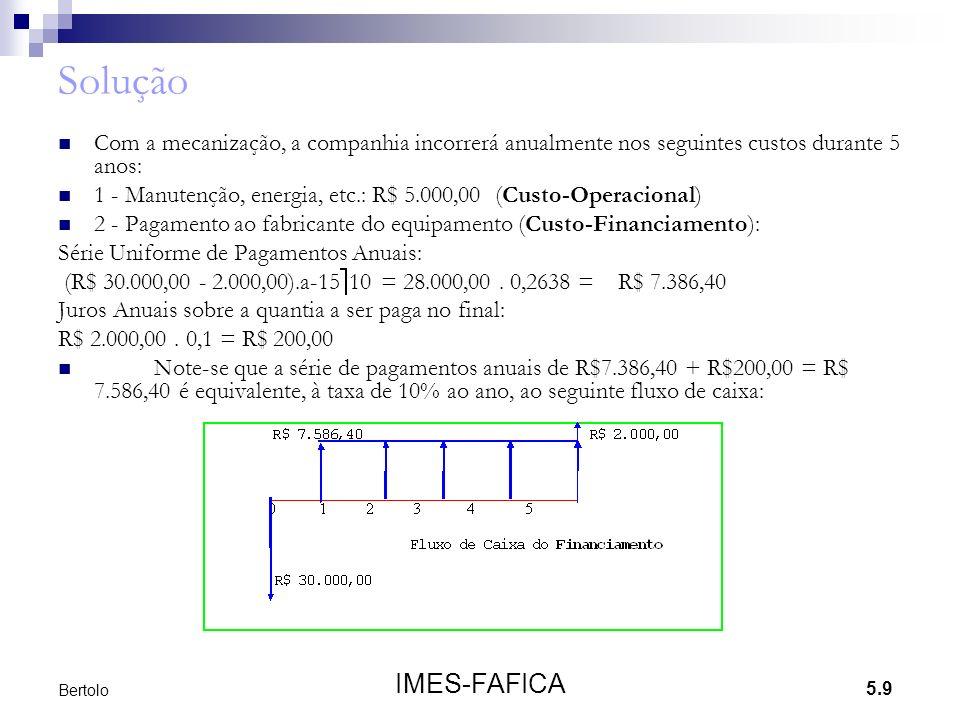 5.9 IMES-FAFICA Bertolo Solução Com a mecanização, a companhia incorrerá anualmente nos seguintes custos durante 5 anos: 1 - Manutenção, energia, etc.: R$ 5.000,00 (Custo-Operacional) 2 - Pagamento ao fabricante do equipamento (Custo-Financiamento): Série Uniforme de Pagamentos Anuais: (R$ 30.000,00 - 2.000,00).a-15 10 = 28.000,00.