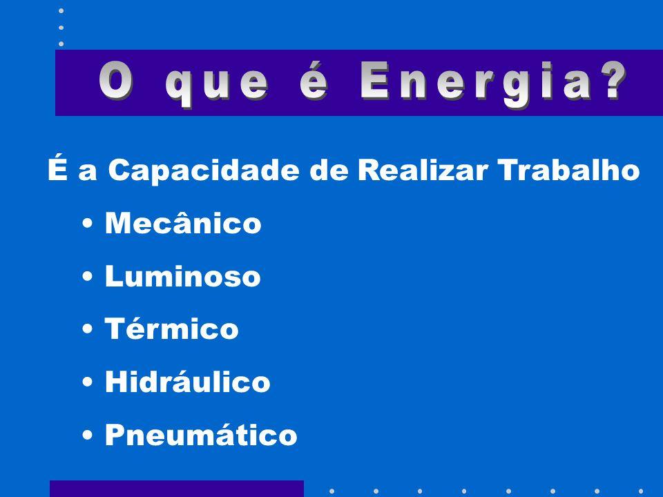 É a Capacidade de Realizar Trabalho Mecânico Luminoso Térmico Hidráulico Pneumático