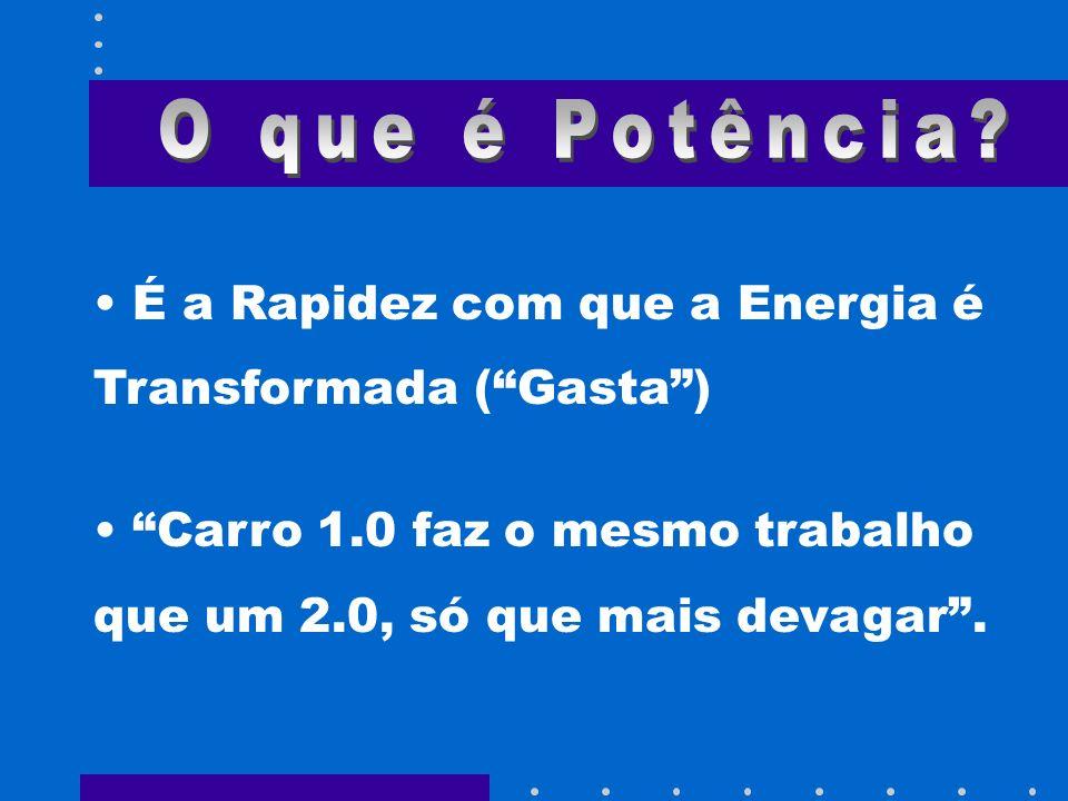 É a Rapidez com que a Energia é Transformada (Gasta) Carro 1.0 faz o mesmo trabalho que um 2.0, só que mais devagar.