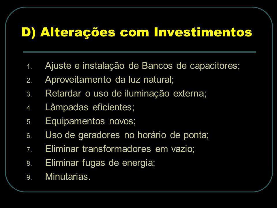 D) Alterações com Investimentos 1.Ajuste e instalação de Bancos de capacitores; 2.