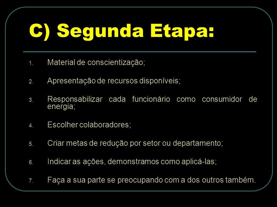 C) Segunda Etapa: 1.Material de conscientização; 2.