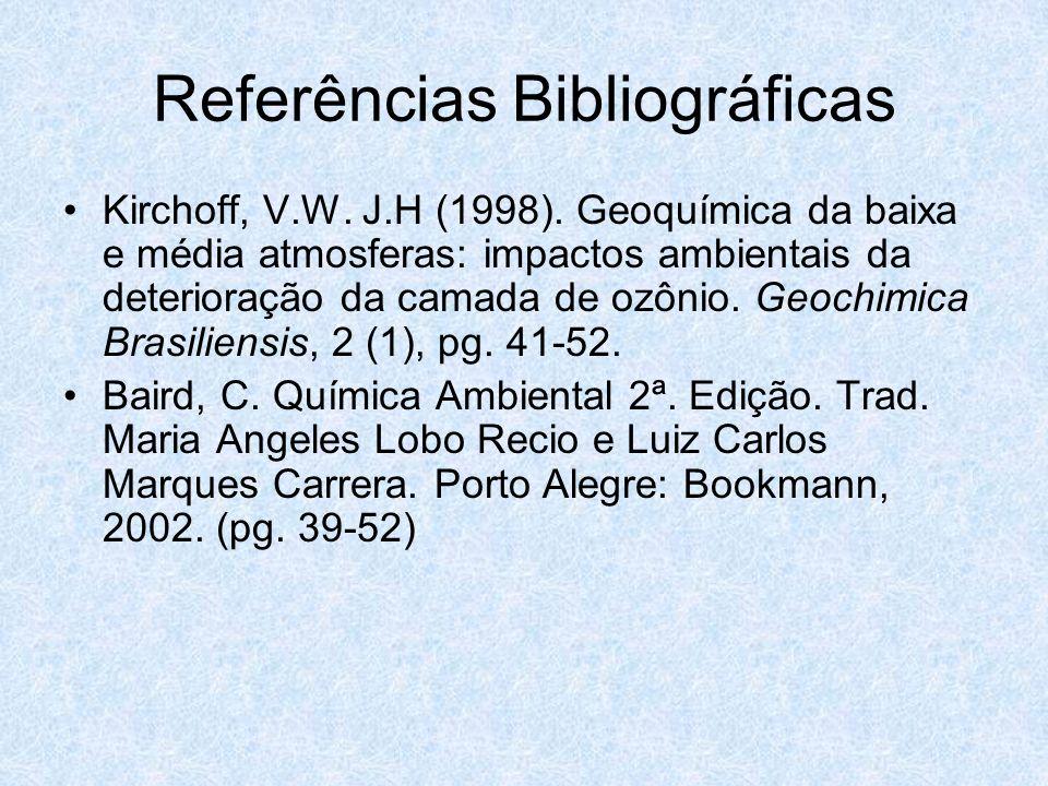 Referências Bibliográficas Kirchoff, V.W. J.H (1998). Geoquímica da baixa e média atmosferas: impactos ambientais da deterioração da camada de ozônio.