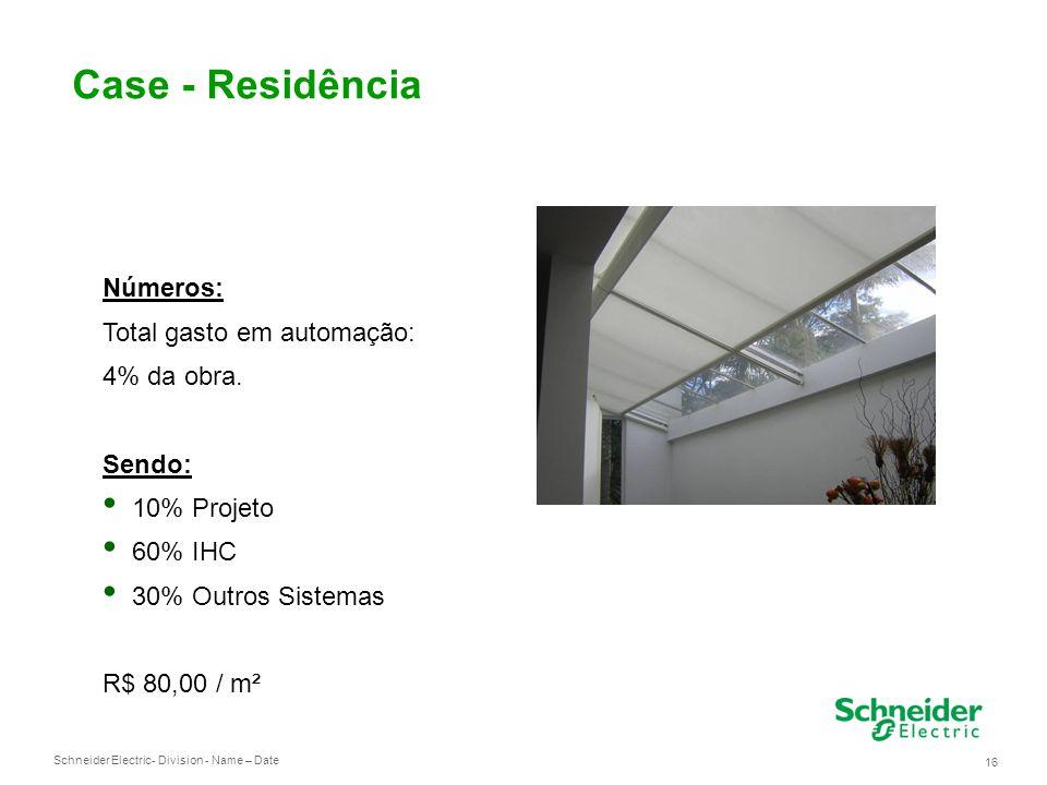 Schneider Electric 16 - Division - Name – Date Case - Residência Números: Total gasto em automação: 4% da obra.