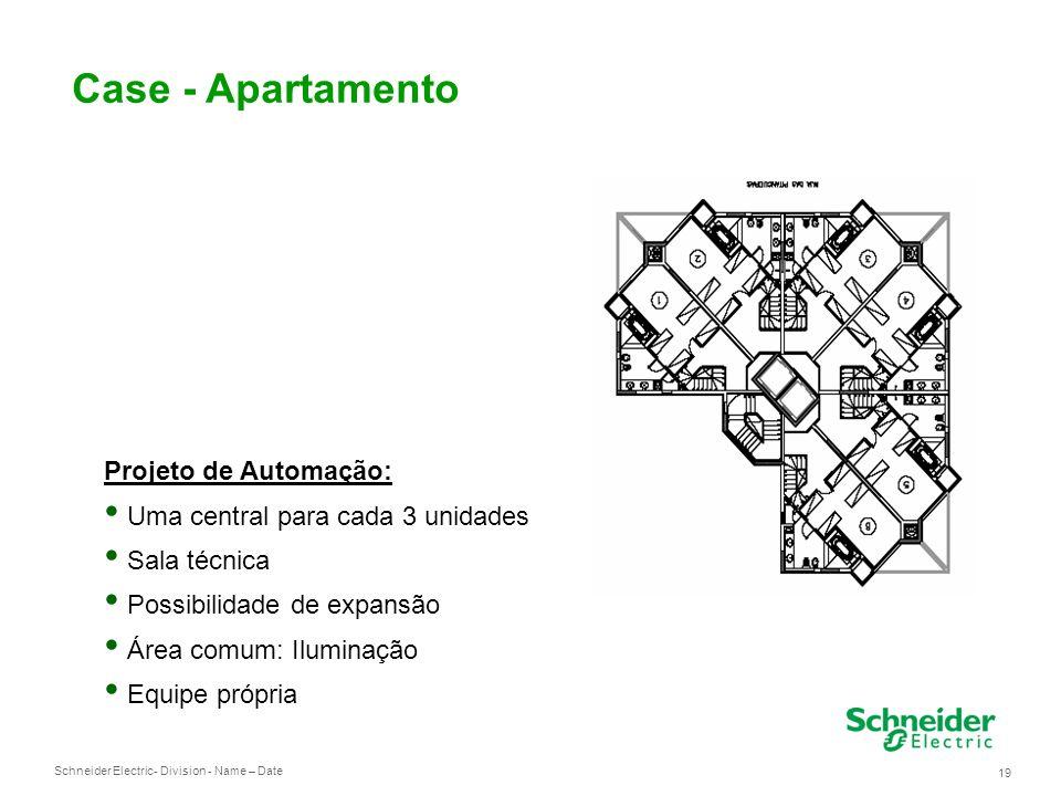 Schneider Electric 19 - Division - Name – Date Case - Apartamento Projeto de Automação: Uma central para cada 3 unidades Sala técnica Possibilidade de expansão Área comum: Iluminação Equipe própria