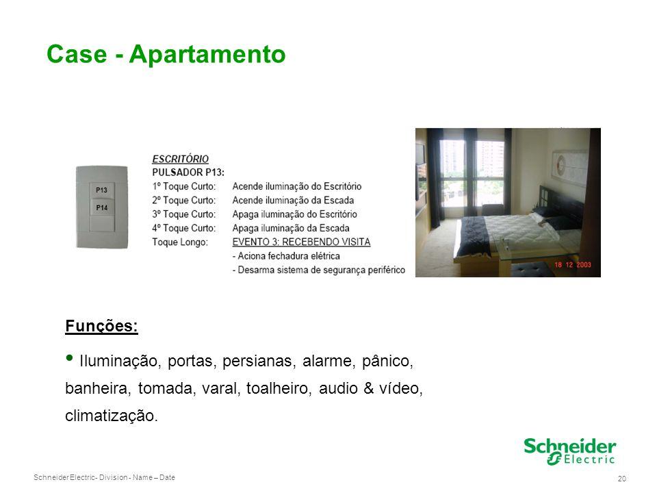 Schneider Electric 20 - Division - Name – Date Case - Apartamento Funções: Iluminação, portas, persianas, alarme, pânico, banheira, tomada, varal, toalheiro, audio & vídeo, climatização.
