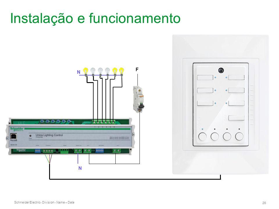 Schneider Electric 26 - Division - Name – Date N F N Instalação e funcionamento