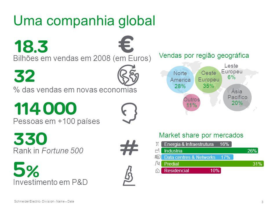 Schneider Electric 3 - Division - Name – Date Uma companhia global Bilhões em vendas em 2008 (em Euros) % das vendas em novas economias Pessoas em +10